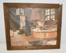 1 x Large Framed Canvas Print Depicting A Flour Mill - Dimensions: 126.5 x H117cm - Removed From A