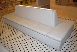 1 x Central Seating Banquette in a Contemporary Diamond Faux Grey Leather - Quality Craftsmanship