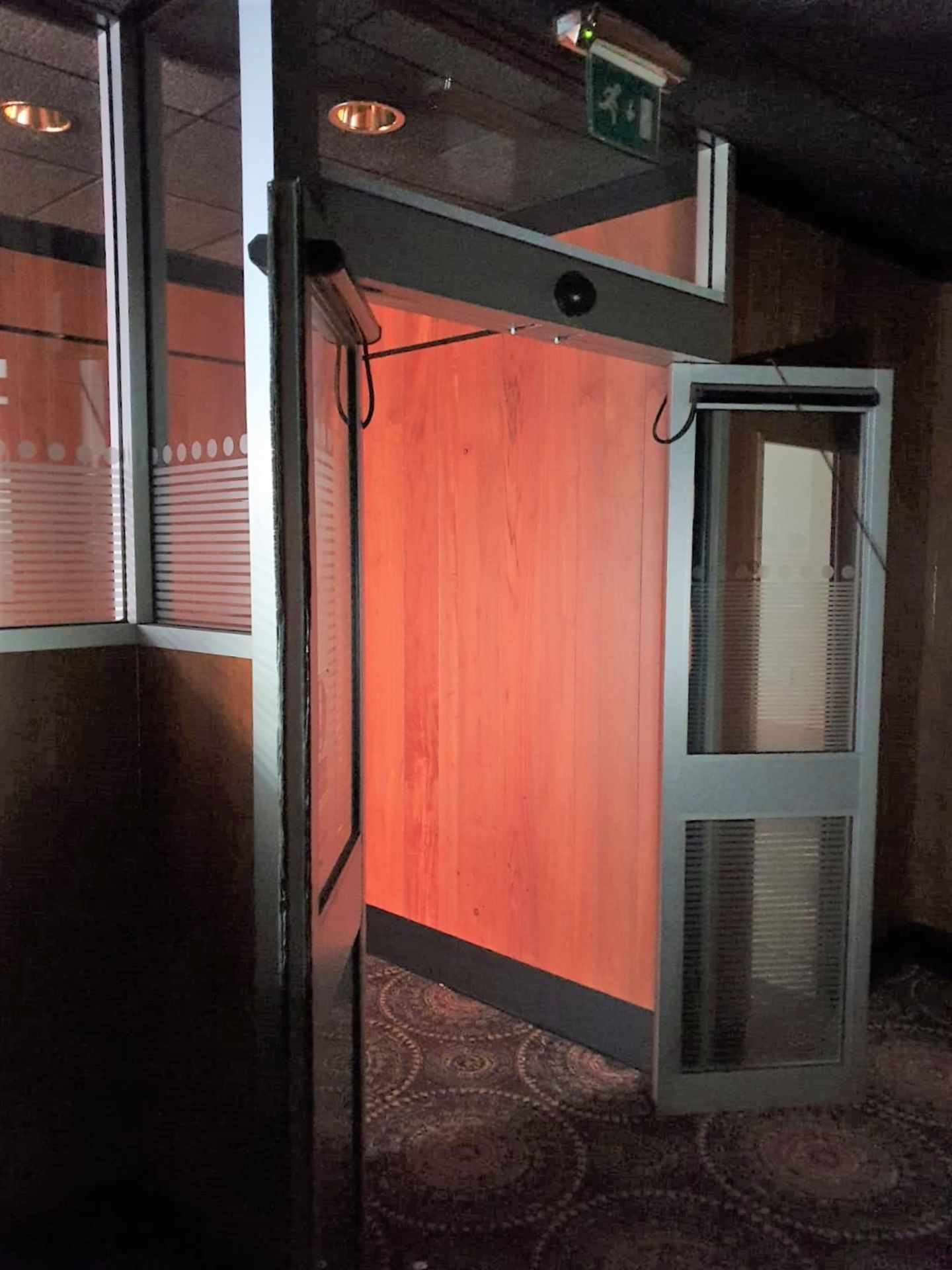 Lot 7550 - 1 x Set of Automatic Double Doors - Silver Finish - Height 216 cms x Height 276 cms Overall -