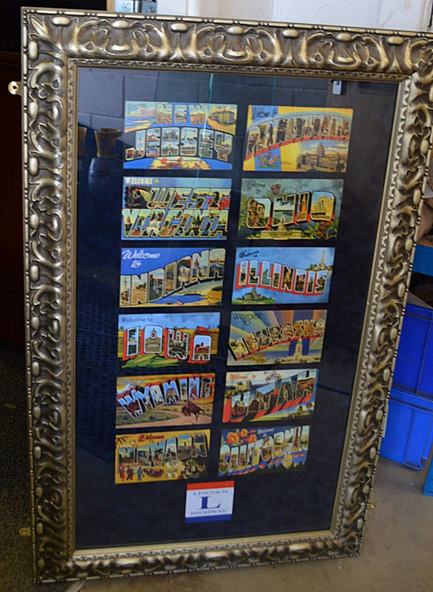 Lot 7508 - 1 x Framed Display Piece Featuring Facsimiles Of Bygone Postcards - Dimensions: H107 x W68cm - Used,