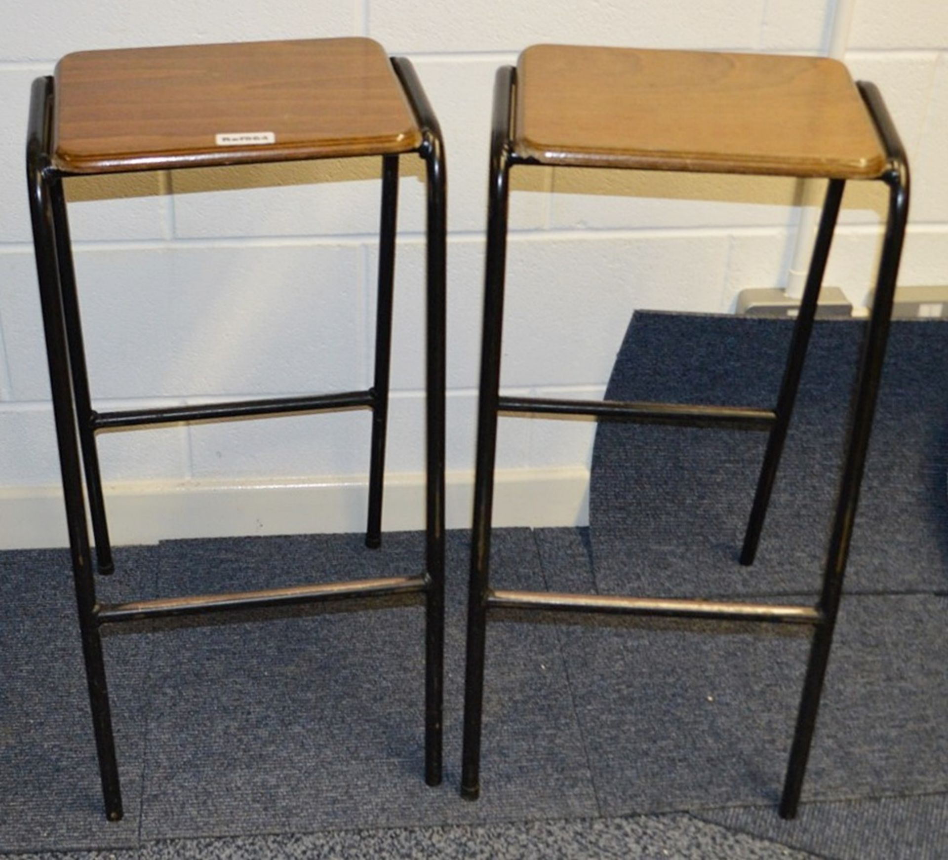 Lot 7510 - 2 x Trainspotters Branded Stacking Bar Stools - Used - Dimensions (approx) H74 x W36 x D43cm -