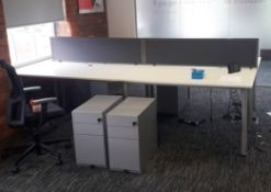 Office Desk Set - 4 x Kinnarps Interlocking 160cm Rectangular Desks + 3-Drawer Units + 2 Dividers