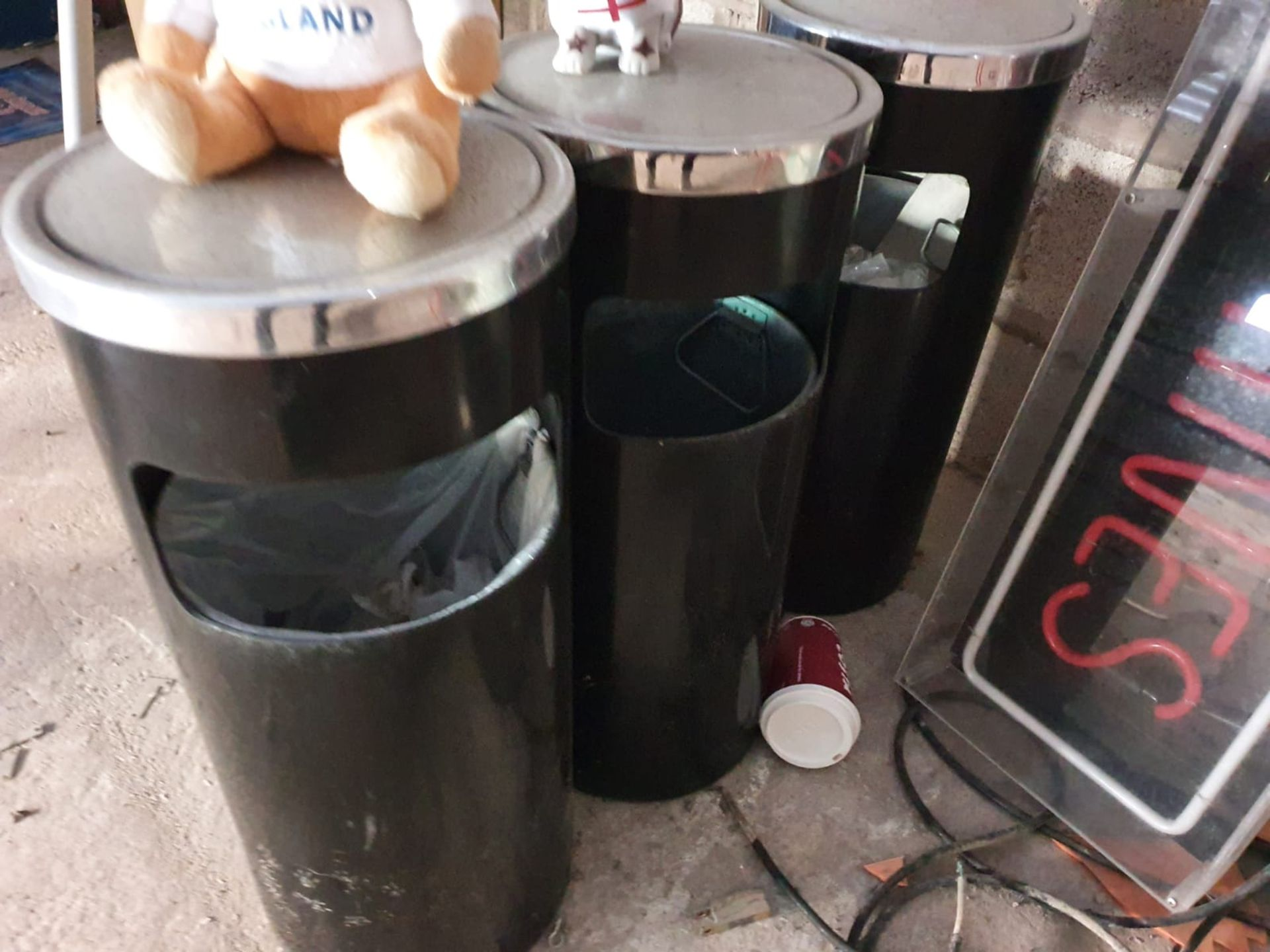 Lot 7553 - 3 x Waste Bins in Black With Chrome Tops - CL515 - Height 60 cms x Diameter 26 cms - Location: Lymm,