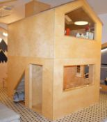 1 x Two Story Indoor Wooden Playhouse - Two Level Wendy House With Staircase, Shop Area and