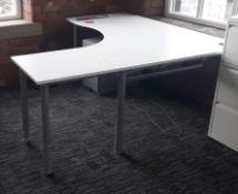 1 x Kinnarps Branded Corner Office Desk With Additional Interlocking End Section And Pedestal Drawer