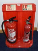 2 x Fire Extinguishers With Stand - Includes 6L Water With Additive and 2kg Carbon Dioxide - Ref: