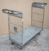 1 x Platform Trolley With Heavy Duty Wheels, Two Handles and Waste Bag Holder - Features a 100 x 46