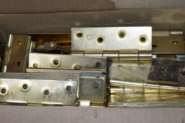 Approximately 30-40 x Electro Brassed 100mm Butt Hinges - Unused Stock From Hardware Retailer -