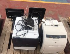 1 x Assorted Pallet of Tech Equipment - Including: Monitors (2x), Laser Printers (2x), Wifi Router -