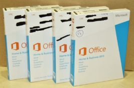 4 x Microsoft Office 2013 Home and Business - Genuine Windows Office 2013 Medialess Product Keys
