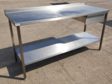1 x Stainless Steel Commercial Kitchen Prep Bench With Drawer, Undershelf and Upstand - Dimensions: