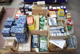 1 x Assorted Ironmongery Pallet Lot - Features Boxes of Screws, Bolts, Washers, Nuts, Dome and
