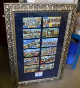 1 x Framed Display Piece Featuring Facsimiles Of Bygone Postcards - Dimensions: H107 x W68cm - Used,