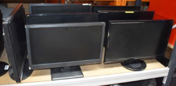 8 x Various Flat Screen Computer Monitors - Mostly 22 Inch Size - Removed From Various Office