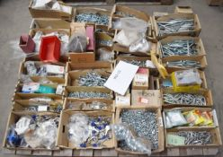 1 x Assorted Ironmongery Pallet Lot - Features Nuts, Bolts, Keys, Locks, Washers, Screws, D