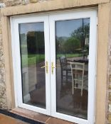1 x Set of White PVC Double Glazed Patio Doors With Safeware Lock, Keys and Brass Handles -