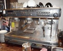 1 x La Cimballi Dosatron M32 Espresso and Cappuccino 2 Group Coffee Machine With Stainless Steel Fin