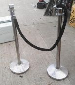 2 x Barriers With Velvet Rope (broken) - Pre-owned, Taken From An Asian Fusion Restaurant - Ref: MC6