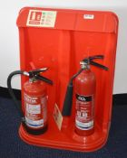 2 x Fire Extinguishers With Stand - Includes 3L Water With Additive and 2kg Carbon Dioxide -Ref:
