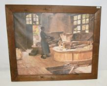 1 x Large Framed Canvas Print Depicting A Flour Mill - Dimensions: 126.5 x H117cm - Removed From A L