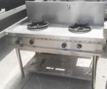 1 x NAYATI Commercial 2-Burner / Pot Gas Cooker Range With Tap And Splashback - Stainless Steel - Di
