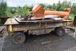 1 x Heavy Duty Flat Bed Trailer With Swivel Axle & Double Wheels - NO VAT ON THE HAMMER!