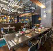 1 x Bespoke Industrial Style 10ft Long Concrete Topped Banquetting Restaurant Table