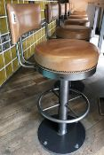7 x Tan Leather Bar Stools With Backrests, Studded Detail and Footrests - H77/100 x W41 cms -