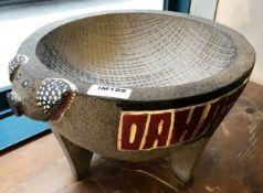 1 x Stone Pig Style Dahaca Folk Art Griding Bowl - Size H30 x W40 cms - CL554 - Ref IM195 -