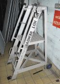 1 x Set of Small Step Ladders With Wheels and Hand Rails - Ref EP173 - CL451 - Location: Scunthorpe,