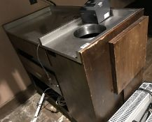 1 x Restaurant Service Station With Stainless Steel Top and Bin Chute - H95 x W110 x D60 cms - CL554