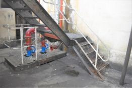 1 x Steel Staircase With Hand Rails, Perforated Steps and Platform - Approx Dimensions: Overall