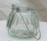 20 x Mini Glass Hanging Jars - Dimensions: Approx. 7/8cm - Pre-owned - CL548 - Location: Near Market