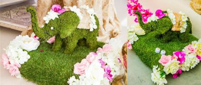 1 x Decorative Commercial Artificial Floral Display Featuring A Moss Elephant Sculpture