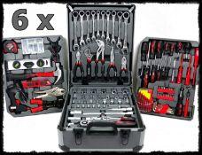 Job Lot 6 x Muller Kraft 186 Piece Tool Kits With Alutrolley Tool Cases - Chrome Vanadium Steel