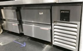 1 x Precision Low-Level 4-Drawer Refrigerator- Size H52 xW132 x D61 cms - CL554 - Ref IM207 -