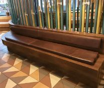 1 x Contemporary Curved Seating Bench With Walnut Finish and Seating Pads - Approx Size H47 x W340 x