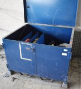 1 x Large Steel Pallet Storage Box With Lockable Lid, Feet and Fork Lift Inserts - Includes