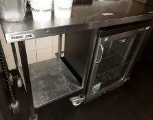 1 x Stainless Steel Prep Table On Castors - Size H93 x W130 x D71 cms - CL554 - Ref IM202 -