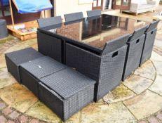 1 x Rattan 13 Piece Garden Furniture Set - Size H77 x W190 x D130 cms - CL546 - Location: Hale,