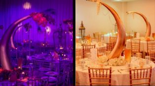 4 x Tusk Shaped 1.2 Metre Tall Fibre Glass Table Centre Pieces In Gold