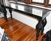 1 x Console Table With a Lacquered Black Finish and Turned Legs - Size H89 x W200 x D50 cms -