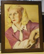 1 x Original Framed Painting Of A Blonde Lady On Art Board - Dimensions: H52 x W41.5 x D2cm