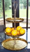 1 x Three Tier Pitted Brass Cake Stand - Height 68 x Diameter 39 cms - CL546 - Location: Hale,