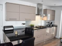 1 x Contemporary Mocha Fitted Kitchen Featuring Galaxy Granite Worktops, Breakfast Bar With Stools