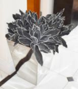 Pair of Decoration Chome Planters With Artificial Black Leaf Plants - Ideal For The Contemporary
