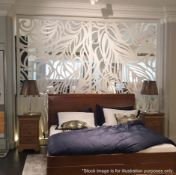 A Pair Of Elegant 'Miles and Lincoln' Laser Cut Metal Room Divider Panels In A Feather Design -
