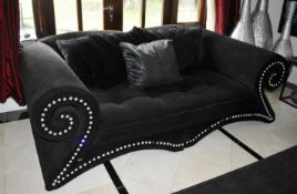 1 x Bretz Mammut Sofa Upholstered in Speckled Black Fabric - Features Large Scroll Arms, Faux