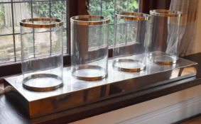 1 x Large Candle Holder With Four Removable Glass Lanterns and 4ft Wide Chrome Base - Modern