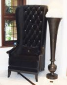 1 x Chesterfield Style Tall Wingback Armchair Upholstering in Black Velvet With Faux Crystal Studs